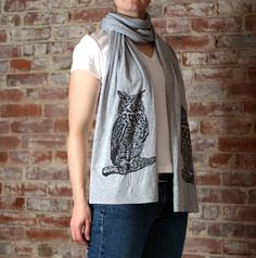 Owl Heather Grey Jersey Cotton Scarf  Hand by SproutedDesigns