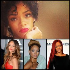 #Rihanna #hair #styles over the years from jet black to fiery red