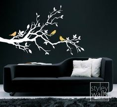 Love Birds on Branch with Leaves  Vinyl Wall Decal by styleywalls, $44.00