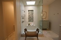 Jumbo White Subway Tile, Glass Floor To Ceiling Enclosure, Marble Bench,  Glass Tile Niche. Kimbro Renovations: Montgomery, Alabama   Home Me