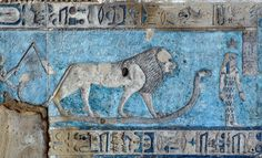 [EGYPT 29590] 'Leo on astronomical ceiling at Dendera.' A lion standing on a snake portrays the zodiac sign Leo on the astronomical ceiling in the outer hypostyle hall of the Hathor Temple at Dendera. The ceiling consists of seven separate strips but here we are looking at a detail of the upper register of the WESTERNMOST STRIP. Leo is one of the six zodiac signs depicted in the entire westernmost strip (see picture 29585 till 29590) and the other six can be found on the easternmost ...