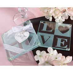 Clearly in LOVE Glass Coasters (Set of 2)