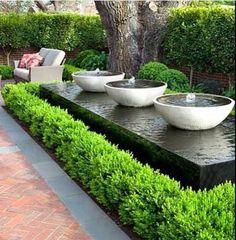 80 Fresh Water Feature for Front Yard and Backyard Landscaping - DIY Garten Landschaftsbau Modern Water Feature, Backyard Water Feature, Diy Water Feature, Indoor Water Features, Water Features In The Garden, Garden Features, Small Gardens, Outdoor Gardens, Modern Gardens