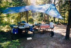 Blue Lake Provincial Park (@ontarioparks) #camping #tarpitecture Coffee Table Styling, Fashion Books, Camping, Patio, Photo And Video, Outdoor Decor, Blue, Home Decor, Campsite
