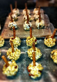 Bananas Foster OR Apple Cinnamon Popcorn Balls...Oatmeal is the secret.  LIKE THE IDEA OF AN EDIBLE STICK