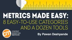 By PAWAN DESHPANDE published OCTOBER 7, 2015 Content Marketing Tools and Technology / Measurement and ROI Metrics Made Easy: 8 Easy-to-Use Categories and A Dozen Tools