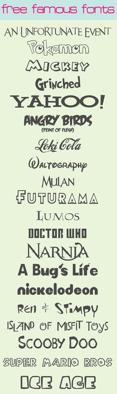 My Favorite Famous Fonts With Quick Easy Links