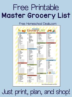Free Printable Master Grocery List (instant download!). Grocery shopping can be such a chore, can't it?!  Scouring the pantry for needed items, making a list, actually going to the store, putting the groceries away