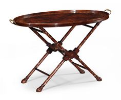 Oval tray on stand with floral inlay (Mahogany)