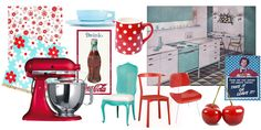 I loooooove the combination of cherry RED and light AQUA. Very retro.   trees wallpaper lovely fabric miscellaneous kitchen  These are the ...