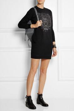 KENZO|Tiger embroidered cotton sweatshirt dress|NET-A-PORTER.COM