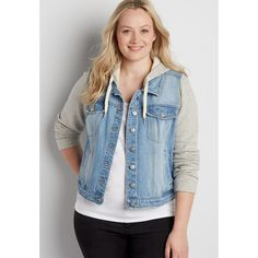 81b5e4e7f46 Maurices - plus size french terry denim jacket with hood in light wash