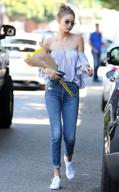 Gigi Hadid from The Big Picture: Today's Hot Pics  Summer strolling! The model looks lovely in an bardot style top while spotted out and about in Los Angeles.