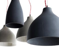 """Heavy"" - thin walled cast concrete pendant lamps by Benjamin Hubert"