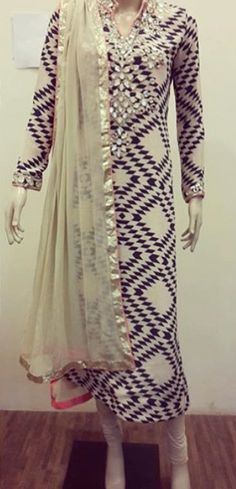 Custom made available at Royal Threads Boutique. Indian Suits, Indian Attire, Punjabi Suits, Indian Dresses, Mirror Work Kurti, Fancy Dress Design, Punjabi Suit Boutique, Anarkali Dress, Indian Fashion