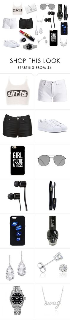"""""""I slay all day"""" by breezybrebre on Polyvore featuring beauty, Alexander Wang, Barbour International, adidas, Elizabeth and James, Vans, Lancôme, STELLA McCARTNEY, Chanel and Plukka"""