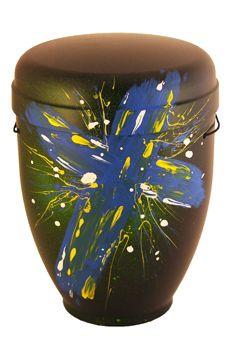 Bestattung, COMAR Urnen : Das heilige Kreuz, funeral urn, cremation urn, holy cross, blue