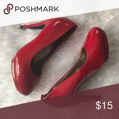 Red pumps Shiny leather material. Heel is about 3-4 inches. Worn just a few times. Shoes Platforms