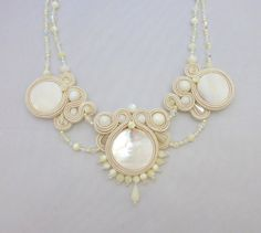 White Ivory Soutache Necklace with Natural by ZinaDesignJewelry, $120.00