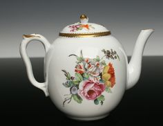 The La Courtille Factory, among the many hard paste maunafctures that attempted to rival Sevres in the late 18th century, made this teapot in the 1780s.