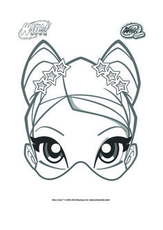 Stella Mask To Color And Decorate For Winx Club Birthday Party