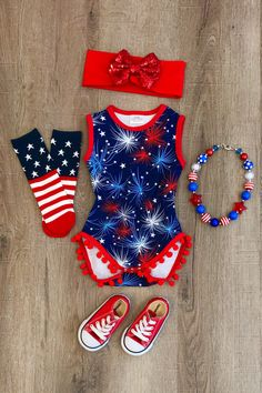 Navy Fireworks Pom Pom Romper – Sparkle in Pink - Alles Über Kinder Cute Baby Girl Outfits, Toddler Outfits, Kids Outfits, Toddler Girls, Baby Girl Fashion, Toddler Fashion, Kids Fashion, Fashion Wear, Organic Baby Clothes