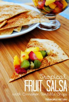 Tropical Fruit Salsa with Cinnamon Tortilla Chips at thebensonstreet.com #fruit #salsa