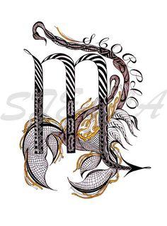 Art Scorpio, Scorpio Zodiac Tattoos, Zodiac Signs Scorpio, Zodiac Art, Art Zodiaque, Arte Yin Yang, Pisces Constellation Tattoo, Aquarell Tattoos, Dj Tattoo
