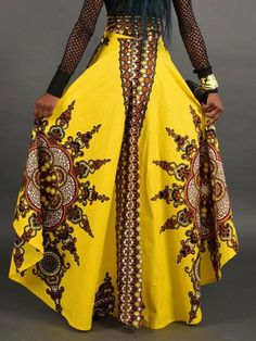 Material: Polyester Silhouette: Asymmetrical Skirt Length: Floor-Length Waist Line: High-Waist Embellishment: Asymmetric,Pleated,Patchwork,Print Style: Ethnic Season: Summer * Size Length Waist cm inch cm inch S 72 M 76 L 80 XL 84 African Fashion Skirts, Skirt Fashion, African Clothes, Colour Blocking Fashion, Womens Maxi Skirts, Swing Skirt, Asymmetrical Skirt, Dashiki, African Attire