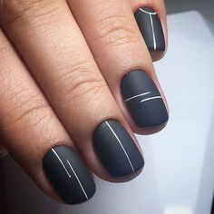 Looking for easy nail art ideas for short nails? Look no further — here are ar… Looking for easy nail art ideas for short nails? Look no further — here are are 20 quick and easy nail art ideas for short nails. Minimalist Nails, Minimalist Design, Lines On Nails, Cute Nail Art Designs, Line Nail Designs, Simple Nail Designs, Matte Nail Designs, Black Nail Designs, Gel Designs