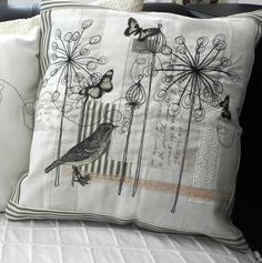 Buy handmade gifts and personalised accessories directly from UK makers and designers, Couch Cushions Freehand Machine Embroidery, Free Motion Embroidery, Free Machine Embroidery, Embroidery Applique, Embroidery Stitches, Embroidery Patterns, Bird Applique, Applique Cushions, Sewing Pillows