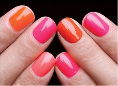 pink and orange nails! Hahaha! I'm so going to make all of my bridesmaids do this! I'm so tired at this point I might not be kidding...