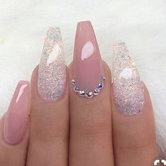 REPOST - - - - Pale Mauve-Pink and glitter on long coffin nails with - Ellise M. - REPOST – – – – Pale mauve pink and glitter on long coffin nails with – - Coffin Nails Long, Long Nails, Pink Coffin, Fancy Nails, Trendy Nails, Acrylic Nail Designs, Nail Art Designs, Glitter Nail Designs, Coffin Nail Designs