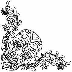 Flowered Skull Corner design (UTH3020) from UrbanThreads.com