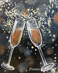 """Champagne Wishes""  Let your inner artist shine at Picasso and Wine in Windsor. Sign up with your friends for a fun night, sip on some wine, and leave with a beautiful painting like this one! www.picassoandwine.com. Painting Classes 