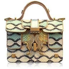 Giancarlo Petriglia Handbags Romantic Multicolor Printed Elaphe Leather Mini P Bag