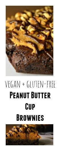 Peanut Butter Cup Brownies - Vegan + Gluten-free