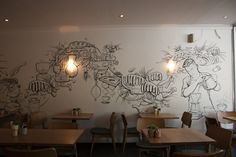 Coffee mural for cafe featuring beans and the growing process Mural Cafe, Cafe Wall, Coffee Bar Home, Coffee Art, Coffee Time, Poster Architecture, Starbucks, Coffee Shop Interior Design, Design Brochure