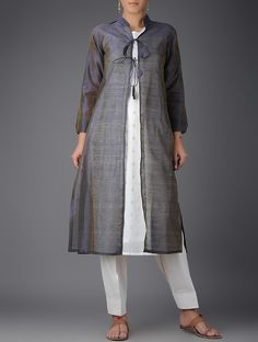 Grey-Ivory Chanderi Jacket with Cotton Slip and Tie-Up Waist Salwar (Set of 3) on Jaypore.com
