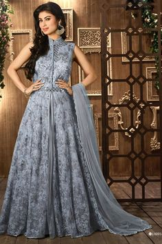 Online Shopping of Mouni Roy Floor Length Designer Net Anarkali Suit in Grey Color from SareesBazaar, leading online ethnic clothing store offering latest collection of sarees, salwar suits, lehengas & kurtis Anarkali Tops, Silk Anarkali Suits, Anarkali Dress, Party Wear Lehenga, Bridal Lehenga Choli, Mouni Roy Dresses, Designer Sarees Online Shopping, Modern Saree, Indian Bridal Outfits