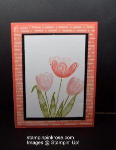 Stampin' Up! Any Occasion card made with Tranquil Tulip stamp set and designed by Demo Pamela Sadler. See more cards at stampinkrose.com #stampinkpinkrose #etsycardstrulyheart