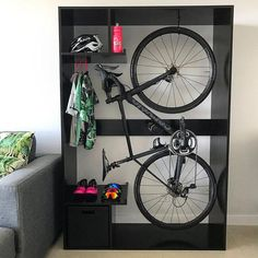 If you love biking but having such small garage, some DIY-able Bike Storage Ideas are here to let you design it by your own! Bicycle Storage Rack, Outdoor Bike Storage, Indoor Bike Rack, Bike Storage In Flat, Garage Bike Storage, Bike Storage Cabinet, Bike Storage Small Space, Bike Storage Apartment, Bike Storage Living Room