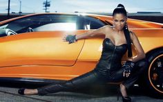 A grand collection of beautiful ladies with vehicles
