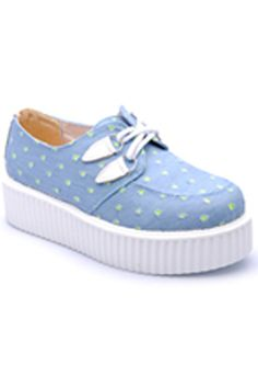 Green Round Dot Denim Platform Shoes  #ROMWE