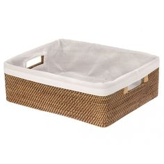 Bamboo Shelf Baskets with Liner - Honey Brown