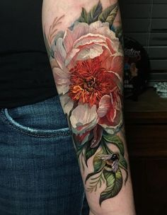Colored flowr tattoo - Magnolia Flower Tattoos diy tattoo - diy tattoo images - diy tattoo id Tattoos Musik, Tattoos 3d, Kunst Tattoos, Nature Tattoos, Cute Tattoos, Unique Tattoos, Beautiful Tattoos, Body Art Tattoos, Sleeve Tattoos