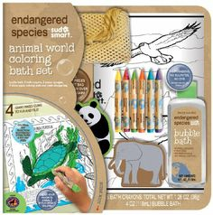 Endangered Species by Sud Smart Animal World Coloring Bath Set for sale online Bath Crayons, Eco Friendly Toys, A Day In Life, Baby Games, Natural Baby, Happy Baby, Endangered Species, Toddler Toys, Baby Shower Gifts