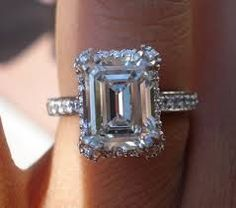 emerald cut halo engagement rings - Google Search