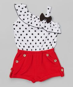 White & Red Polka Dot Romper - Toddler & Girls