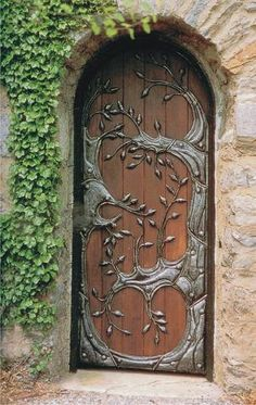 Oak Door with Iron Accent